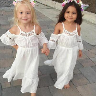 Toddler Kids Girls Short Sleeve Lace Dress Off-shoulder Party Gown Maxi Dresses