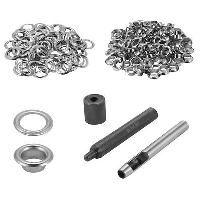 100x Eyelet with Washer Leather Craft Repair Grommet 8mm + Punch Tool Kit CR033
