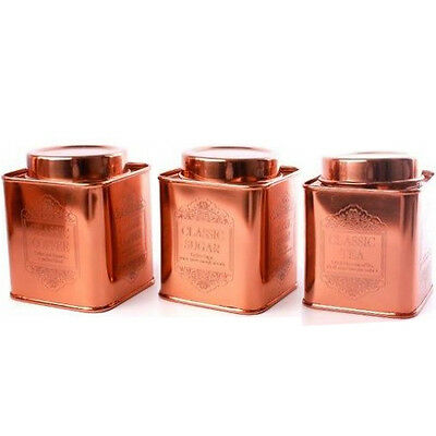 Copper Canisters Sugar Coffee Tea Kitchen Storage 13Cm Cans Containers Modern