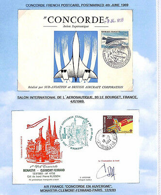 HH323 1969 1983 FRANCE & TUNISIA FLOWN CONCORDE Covers {2} Album Page One Signed