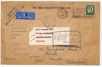 AO89 1961 GB INDONESIA AIR Admiralty Official WILDING Cover Forwarded *Pladju*
