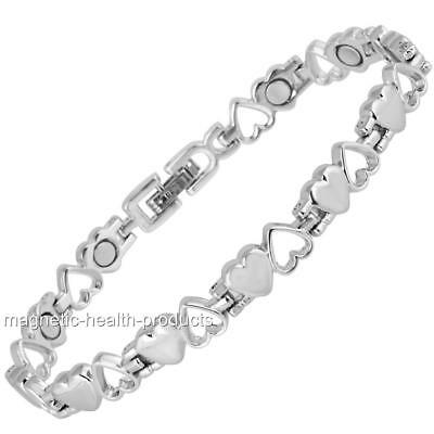 Ladies Magnetic Healing Anklet Silver Hearts - Arthritis Pain Relief 9A