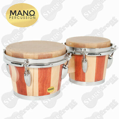 """Mano Percussion Tunable 7"""" & 8"""" Bongo Drums. 2 Tone Wood. Natural Skin Heads"""