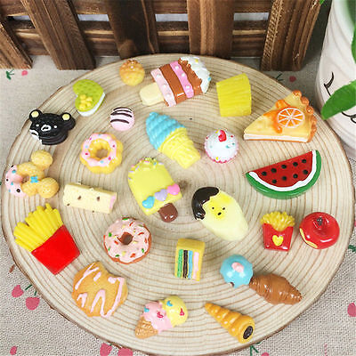 10Pcs Fast Food Cake Biscuit Sweets Ice Cream Resin Toy DIY Phone Decor LOVELY