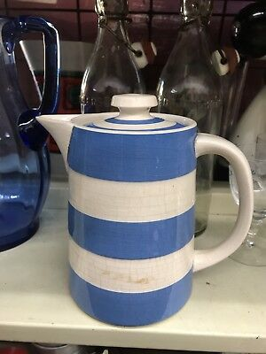 Vintage T.G Green Cornishware Coffee Pot Blue& White Pottery
