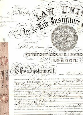 L1868.1 GB REVENUES INSURANCE Document  £1 *Life Policy* Pair PERKINS BACON