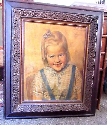 Vintage oil on board of a lovely young girl, dated 1946, signed K. Kempin
