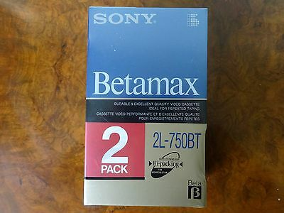 Rare Factory-Sealed SONY L750 BETAMAX Blank Video Cassette Tape - 2 pack