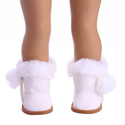 "Handmade Zipped Boots Shoes for 18"" American Girl Journey Doll Clothes White"