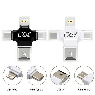 4in1 Micro SD TF Card Reader OTG Lightning Micro USB Type C For Macbooks Laptops