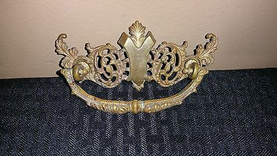 Antique Vintage Brass Drawer Pull Victorian Ornate