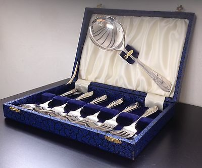 Art Deco EPNS Spoon Set Dessert Starter Serving Cutlery Set Case Spoon Fork