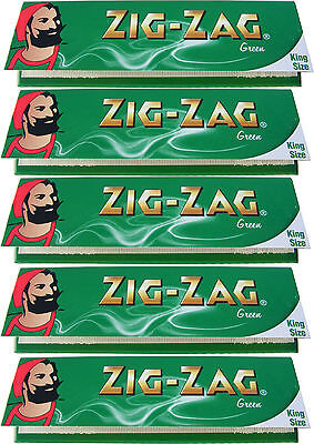 5 x KINGSIZE / KING SIZE ZIG ZAG GREEN ROLLING PAPERS - 32 PAPERS PER PACK