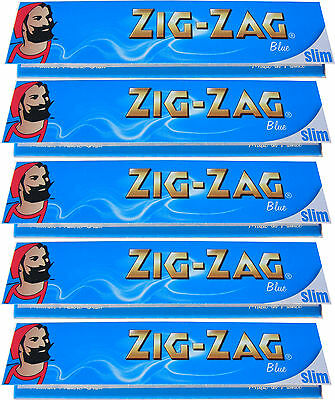 5 x KINGSIZE KING SIZE ZIG ZAG BLUE SLIM ROLLING PAPERS - 32 PAPERS PER PACK