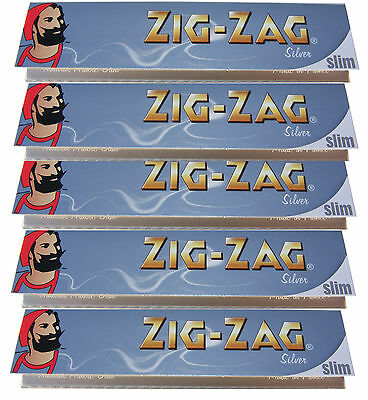 5 x KINGSIZE KING SIZE ZIG ZAG SILVER SLIM ROLLING PAPERS - 32 PAPERS PER PACK