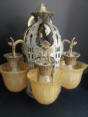 Art Deco Chandelier Made by Riddle, a Renowned Lighting Co. in the 30's