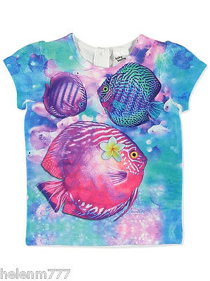 Under the Sea 00 Pink Blue Fish Floral Short Sleeve Soft Tee Baby Berry Girl