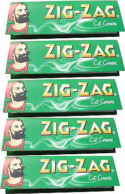 5 x REGULAR SIZE ZIG ZAG GREEN CIGARETTE ROLLING PAPERS - 50 PAPERS PER PACK
