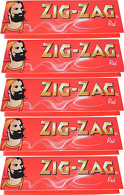 5 x REGULAR SIZE ZIG ZAG RED CIGARETTE ROLLING PAPERS - 50 PAPERS PER PACK
