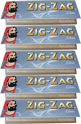 5 x REGULAR SIZE ZIG ZAG SILVER CIGARETTE ROLLING PAPERS - 50 PAPERS PER PACK
