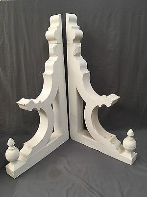 Large Pair Antique Shabby Wood Victorian Corbels Roof Brackets Vtg Chic 646-17E