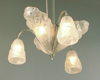 """Fully Restored French Art Deco Chandelier by Degué 3 """"Slip"""" Shades & 3 """"tulipes"""""""
