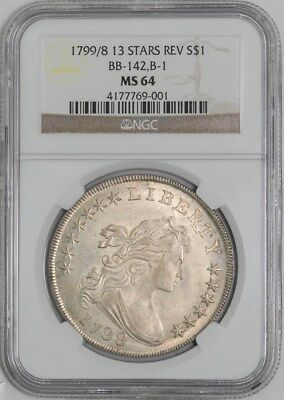 1799/8 Draped Bust Dollar $ 13 Stars Rev BB-142 B-1 MS64 NGC