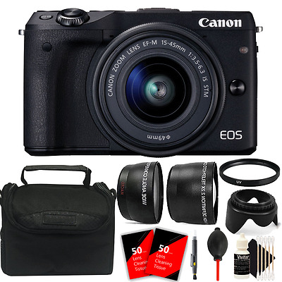 Canon EOS M3 Mirrorless Digital Camera + EF-M 15-45mm Lens + Top Accessory Kit
