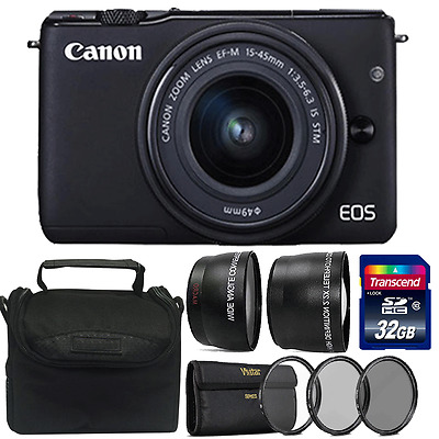 Canon EOS M10 Mirrorless + EF-M 15-45mm Lens Digital Camera + 52mm Accessory Kit