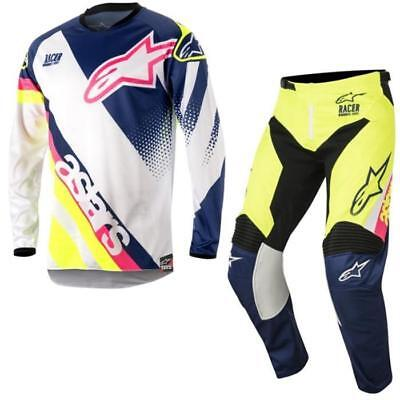 Alpinestars Racer Supermatic Motocross Jersey and Trousers 2018 - White Blue