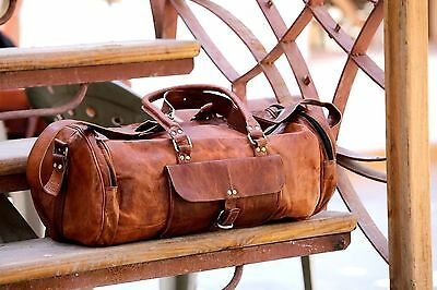 Real Leather Large Travel Hand Luggage Duffel Gym Bag Holdal Carry Suitacase 6pc
