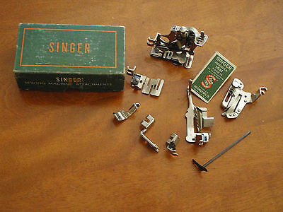 Vintage Singer Sewing Machine Attachments 7 in Original Green Box 160359 USA