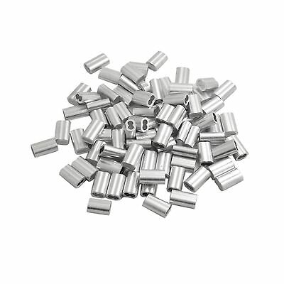"""BronaGrand 100pcs Aluminum Crimping Loop Sleeve for 1/8"""" Wire Rope and Cable"""