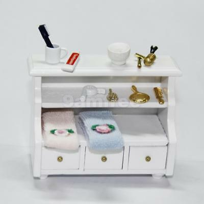 5pcs Dolls House Bathroom Wooden Drawers Cabinet w/ Toiletries Towels Razors Set