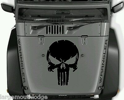 Distressed Punisher Skull Vinyl Decal Graphic Jeep Hood Ford Chevy Dodge Black