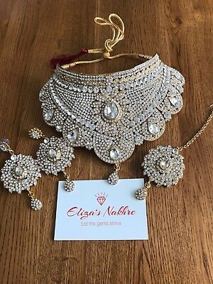 Beautiful Large Necklace Set With Matching Earrings & Tika Silver & Gold