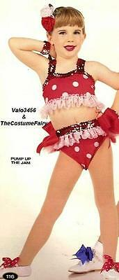 Pump Up The Jam Dance Costume Red White Polka Dot Bikini Child X-Small 2-3yr New