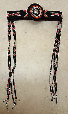 Nice Hand Crafted Beaded Native American Indian Headband With Beaded Eyeguards