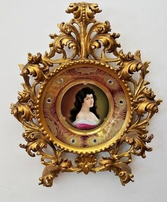 19 Century Vienna Hand Painted Porcelain Plate And Rococo Carved Frame   Rare