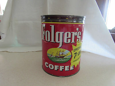 Vintage Folger's Coffee Tin With Lid Very Nice