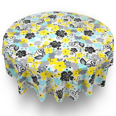 "Retro Garden Floral Quality Vinyl Flannel Back Tablecloth 70"" Round"