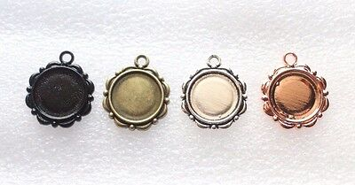 2x Round Pendant Settings Cameo Cabochon Charm Blank Base Antique Jewelry Making