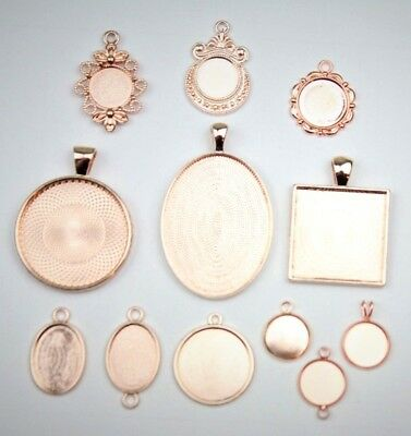 1x ROSE GOLD Round Oval Pendant Settings Charm Blank Base Jewelry Making Antique