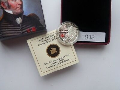 Canada 2013 4 Dollar Silver Heroe Of War 1812 Charles Michel De Salaberry N1838