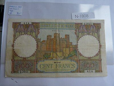 Vintage Banknote Morocco 1947 100  Francs Cat Value 70.00  N1808