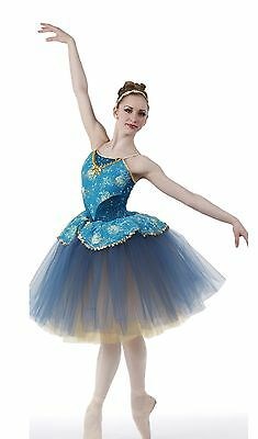 Keepsake Dance Costume Romantic Ballet Ballerina Blue/Gold Tutu 6X7,CM,CL,AXL