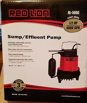 Sump Pump Red Lion RL-50SC 14942653 Cast Iron Snap-Action Float Switch FREE SHIP