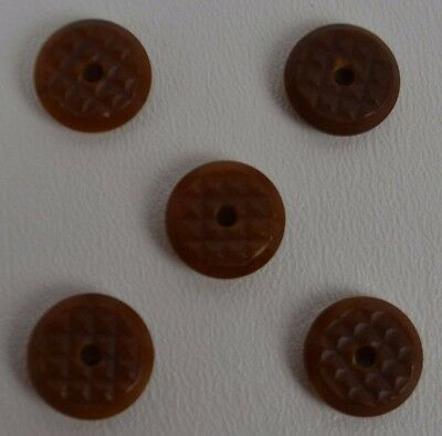 Vintage Vegetable Ivory Button Whistles Machine Carved Tagua Set of 5 Buttons