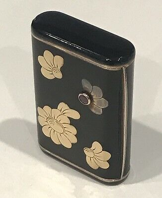 Rare! Antique Van Cleef & Arpels Sterling Silver Gold Enamel Ruby Snuff Pill Box