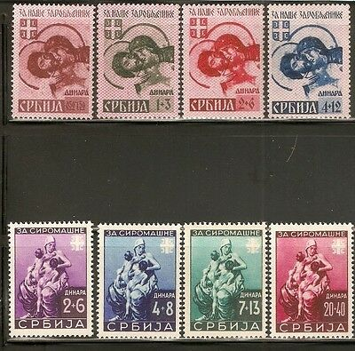 SERBIA German Occupation Stamps 1941-1942 Scott #2NB7-10 #2NB19-22 Mi 82-85  MNH